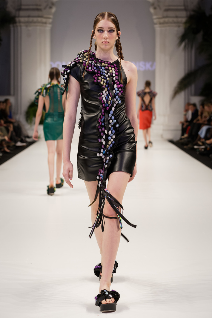 Look 5  Hand-embroidered leather dress