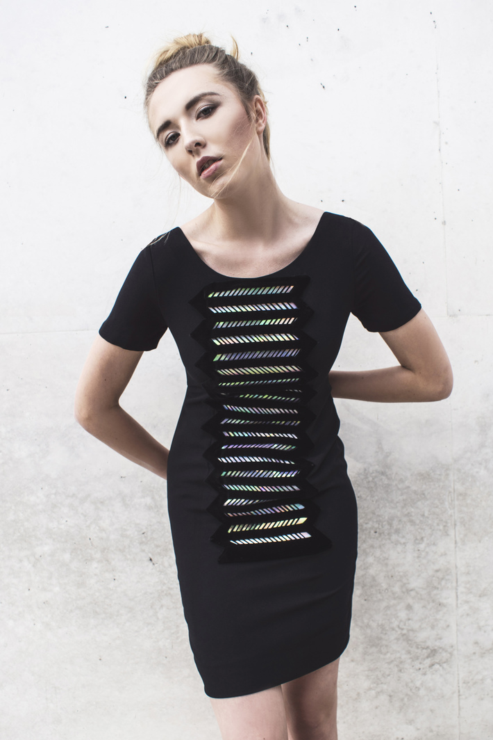Look 4  Laser-cut, holographic dress