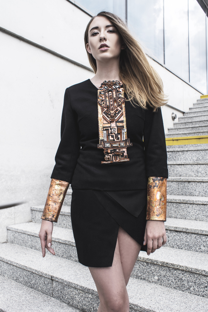 Look 6  Hand-embellished and embroidered wool cardigan and mini skirt