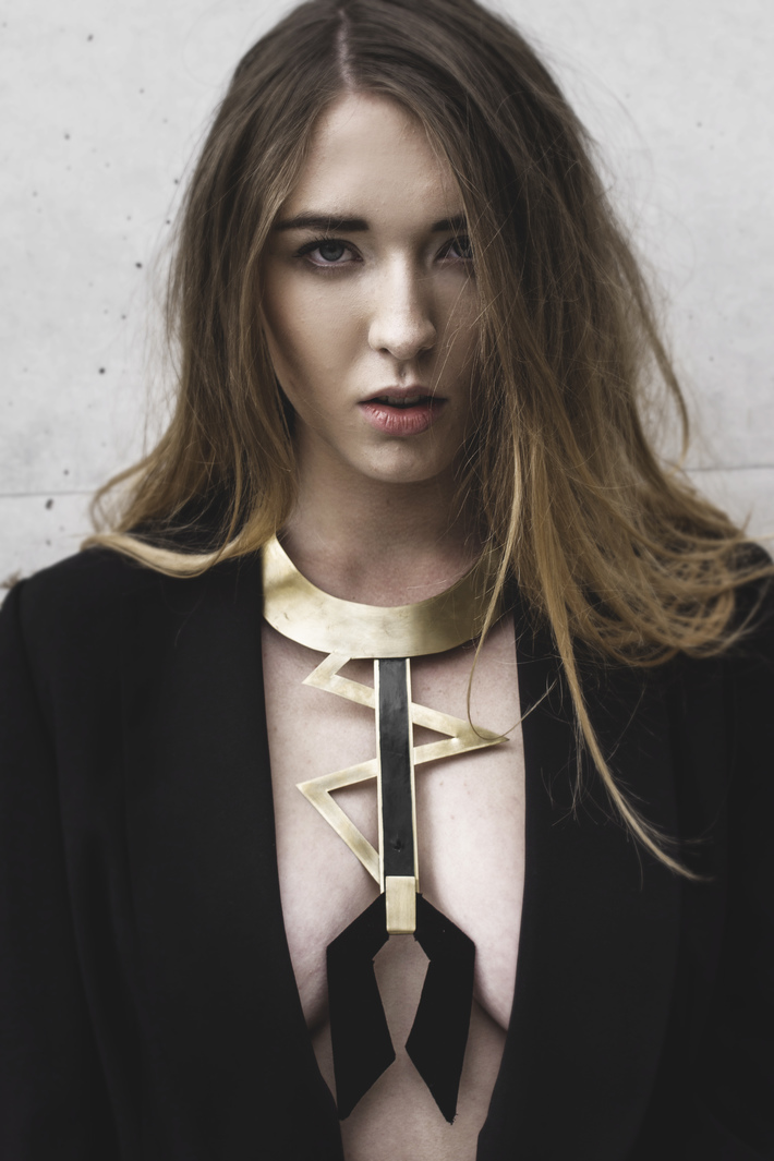 Hand-made, brass necklace