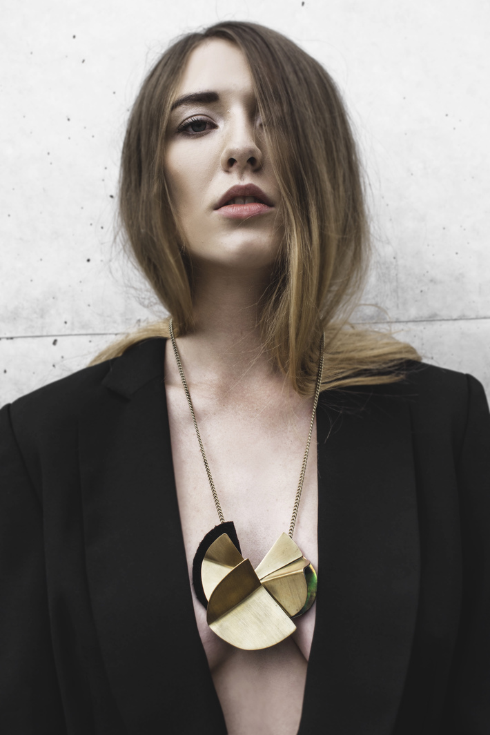 Hand-made, long-chain necklace