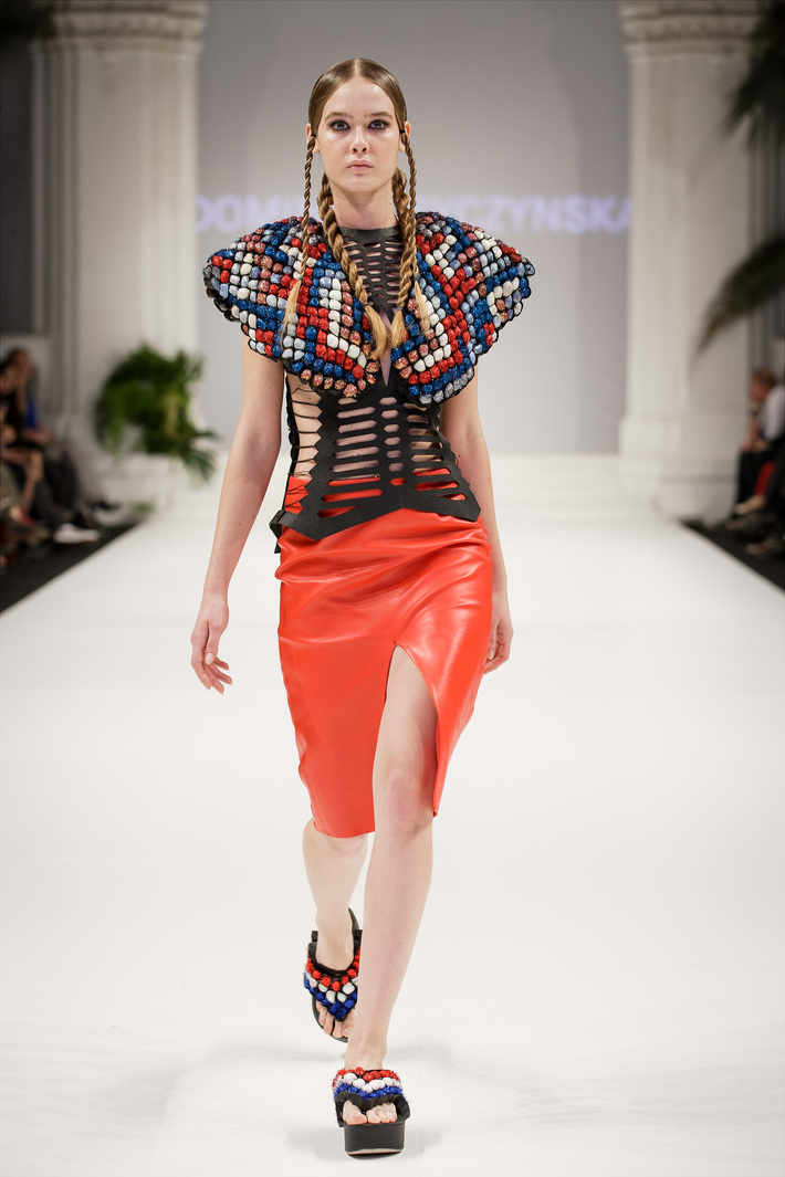 Look 2  Hand-embroidered leather top with a red, leather, pencil skirt