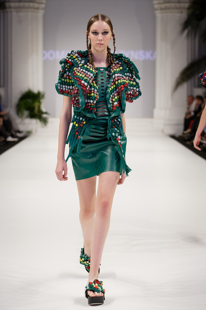 Look 3  Hand-embroidered leather top with a mini, leather  skirt