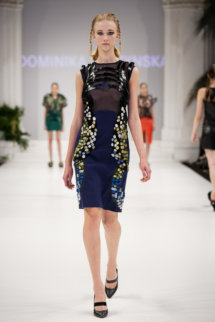 Look 4  Hand-embroidered, silk dress with lacquered, leather straps