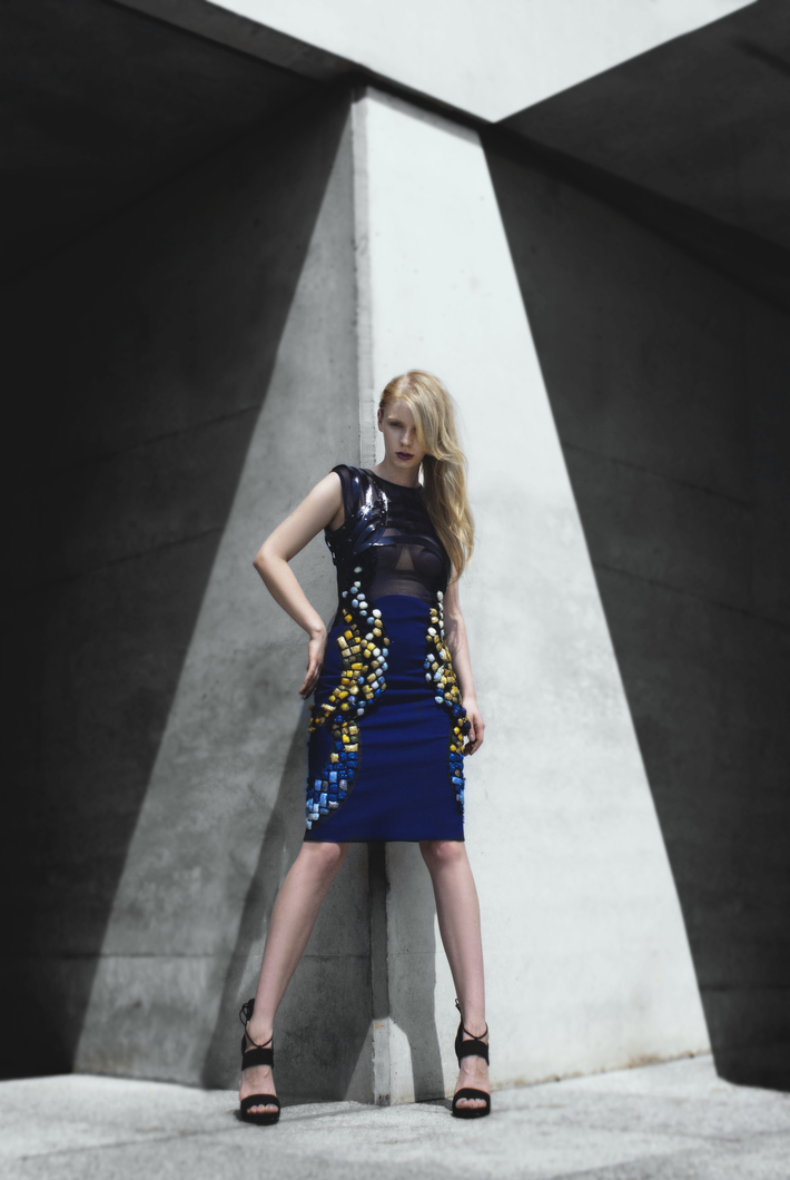 Hand-embroidered, silk dress with lacquered, leather straps